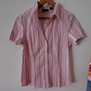 New York & Company Pink/White Stretch Blouse - L